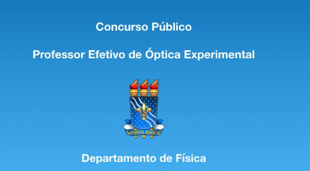 Concurso Público de Provas e Títulos para Professor do Magistério Superior: Óptica Experimental
